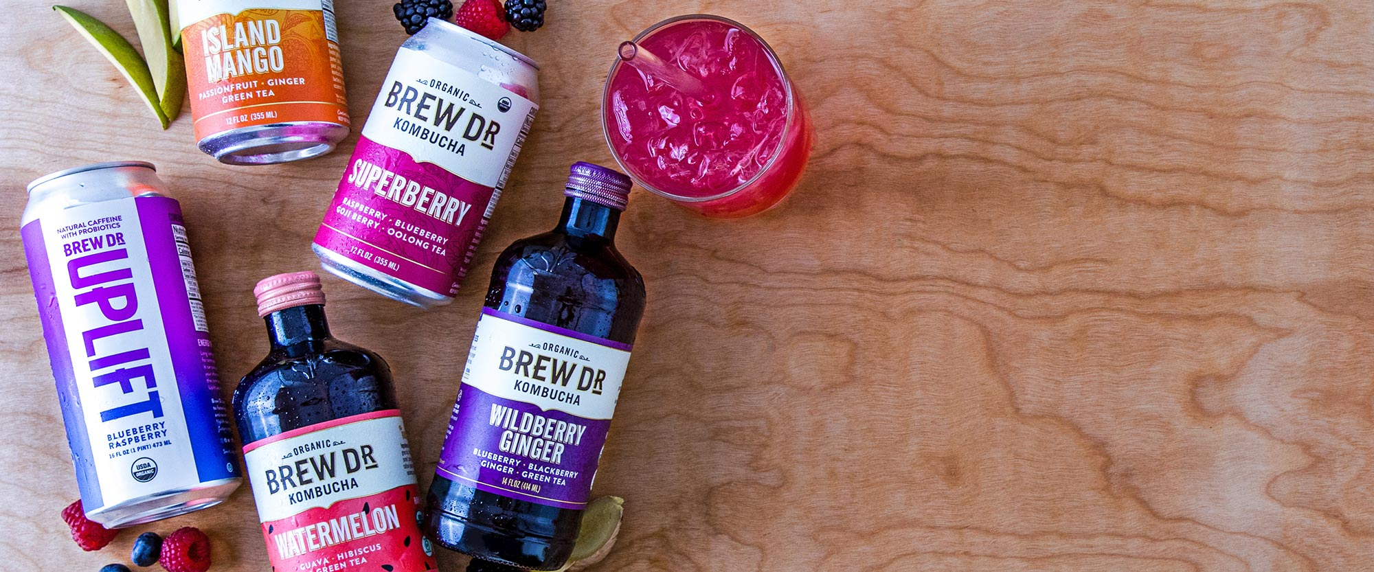 Brew Dr. Products - Brew Dr. Kombucha and Uplift cans and bottles