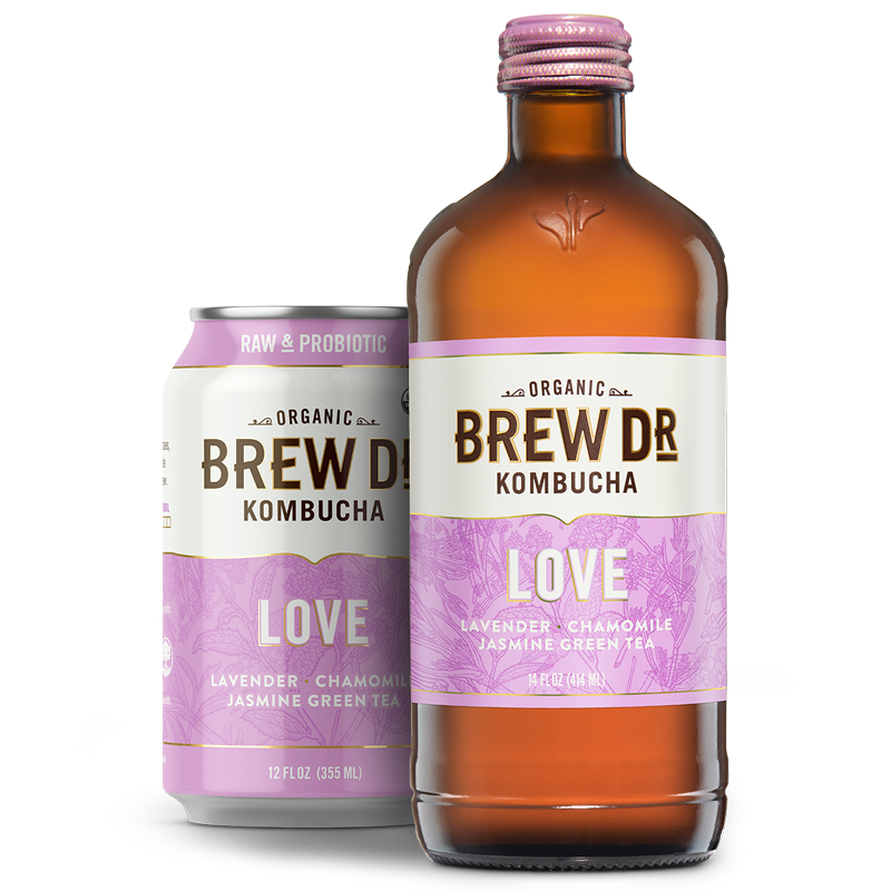 Brew Dr. Kombucha - Love - 12 oz can, 14 oz bottle