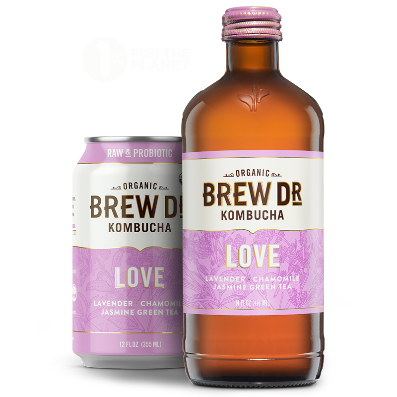 Brew Dr. Kombucha - Love - 1 Percent for the Planet - 12 oz can, 14 oz bottle